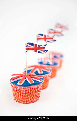 Union Jack-Flagge-Muffins - Stockfoto