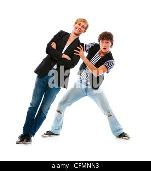 Zwei moderne Jugendlichen Spaß. Isoliert auf weiss - Stockfoto