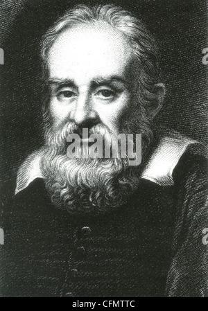 Italienische Physiker GALILEO GALILEI (1564-1642) in einem Kupferstich, basierend auf einem 1636-Gemälde von Justus - Stockfoto