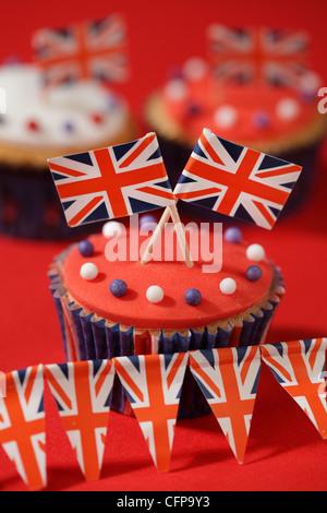 BRITISCHE FEIER CUPCAKES - Stockfoto