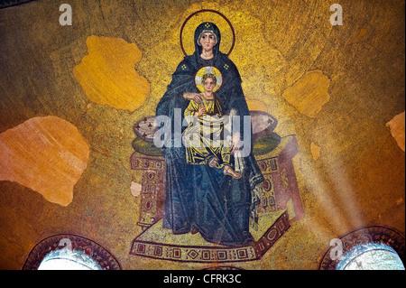 Byzantinische Mosaik der Jungfrau und Kind 867AD Kirche der Heiligen Weisheit (Hagia Sophia Ayasofya)-Istanbul-Türkei