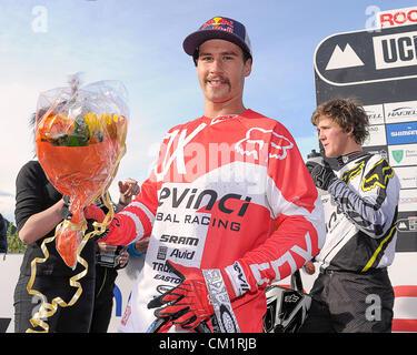 15.09.2012. Lillehammer, Norwegen. Steve Smith von Kanada feiert nach dem Sieg der Mountain Bike World Cup Downhill - Stockfoto