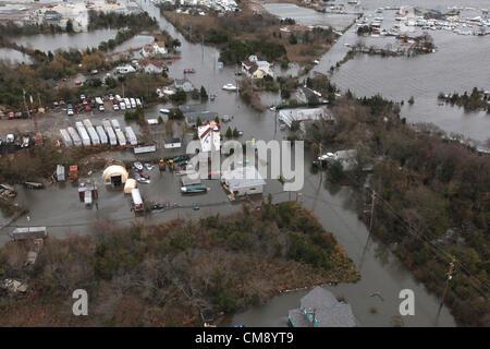Luftaufnahmen der Schäden durch Hurrikan Sandy an der New Jersey Küste während einer Suche und Rettung Mission von - Stockfoto