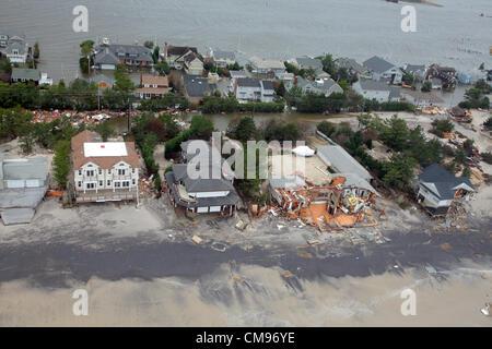 Luftaufnahmen der Schäden durch Hurrikan Sandy nach New Jersey 30. Oktober 2012. - Stockfoto