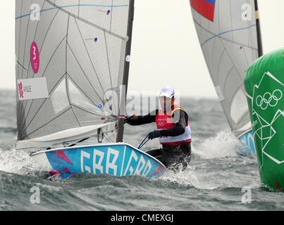 Olympischen Spiele 2012 in London: Segeln, Aktion während der London 2012 Olympische Spiele am Ort Weymouth & Portland, - Stockfoto