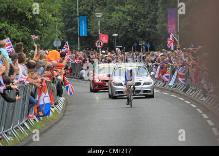 London 2012 Olympischen Frauen Radsport Zeitfahren. Sonntag, 8. Januar 2012. Hampton Court Weg, East Molesey, Surrey, - Stockfoto