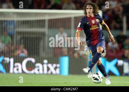 19.08.2012. Barcelona, Spanien.  Barcelonas Carles Puyol während der ersten Division spanischen Liga Fußball match - Stockfoto