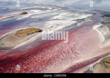 Luftaufnahme des Lake Natron Soda See Variable Ausdehnung im Norden von Tansania