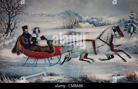 1800S 1850S CURRIER IVES LITHOGRAPHIE MANN FRAU IN PFERDEN GEZOGENE SCHLITTEN WINTERLANDSCHAFT ROAD WINTER 1853 - Stockfoto