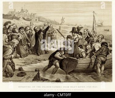 Abfahrt der Pilgerväter von Delft Haven Juli 1620 - Stockfoto