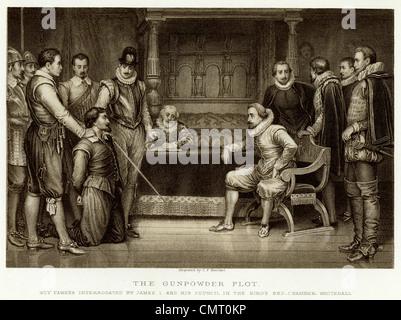 Der Schießpulver-Plot, Guy Fawkes verhört von James I und seinen Rat in der Kings Bett Kammer Whitehall - Stockfoto