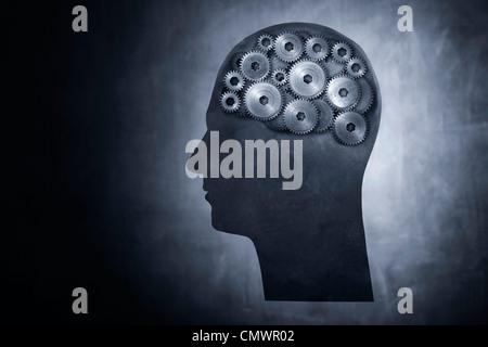 Konzeptbild von Kopf gefüllt mit Zahnrad-Getriebe. - Stockfoto
