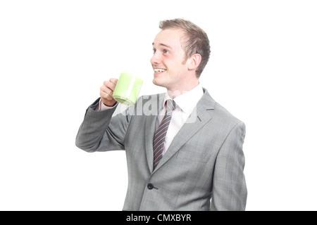 Business-Mann trinkt seinen Kaffee - Stockfoto