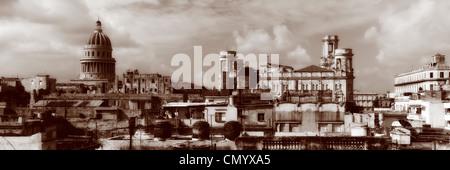 Havanna Vieja, erhöhte Ansicht, alte Havanna Skyline, Panorama, Kuba, große Antillen, Antillen, Karibik, West Indies, - Stockfoto