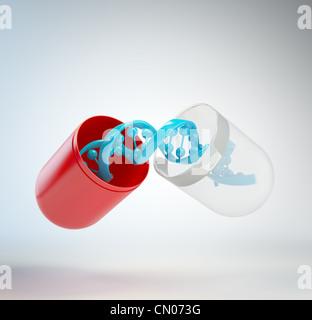 DNA in eine Pille - gen Therapiekonzept - Stockfoto