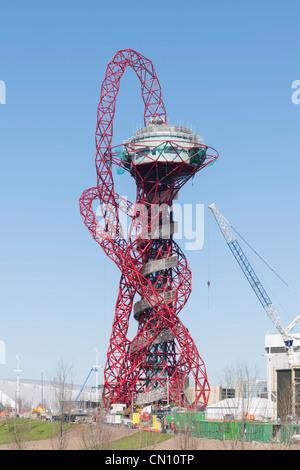 Arcelor Mittal Orbital von Anish Kapoor im Bau, Olympiapark, London 2012 UK - Stockfoto