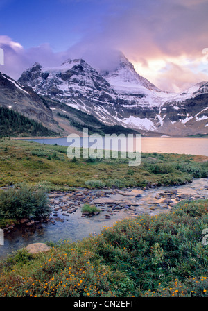 Magog See und Mount Assiniboine, Mount Assiniboine Provincial Park, Britisch-Kolumbien, Kanada - Stockfoto