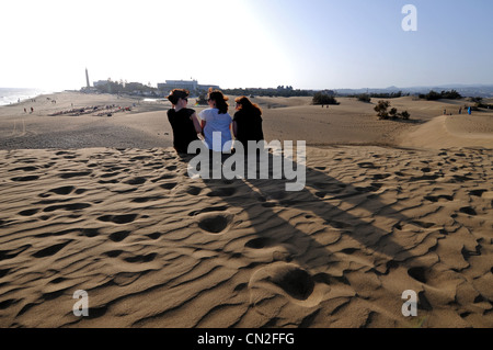 Sanddünen, Maspalomas, Dünen, Gran Canaria, Kanarische Inseln - Stockfoto