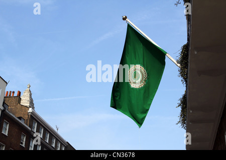 Liga der arabischen Staaten Flagge bei 106 Gloucester Place, London, England, UK - Stockfoto