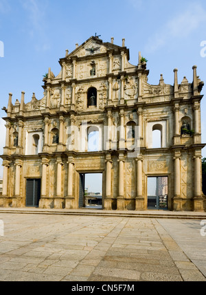 Ruinen der St. Pauls Kathedrale in Macau - Stockfoto