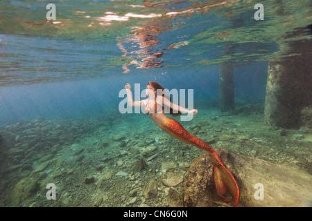 Meerjungfrau Schwimmen an der Wasseroberfläche in Cozumel Mexiko - Stockfoto