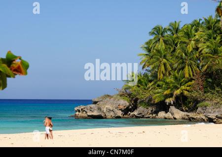 Dominikanische Republik, Rio San Juan Provinz, Playa Grande Strand große wilde und erhaltenen - Stockfoto