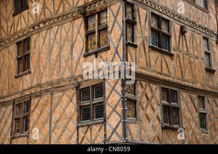 Frankreich, Gers, Auch, stoppen auf el Camino de Santiago, Haus mit Colombages (Holzkonstruktion) in der Pousterles - Stockfoto