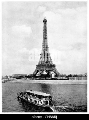 Erste veröffentlichte 1915 Eiffel Tower Paris Fluss Seine - Stockfoto