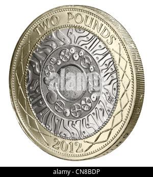 £2 £ 2 Münze auf Schwänzen Hinterseite 2012 - Stockfoto