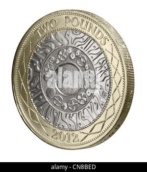 £2 £ 2 Münze Seite auf Köpfen Avers 2012 - Stockfoto