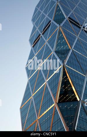 Detail der Hearst Tower an Ecke 8th Avenue und W 57th Street in Manhattan, New York City