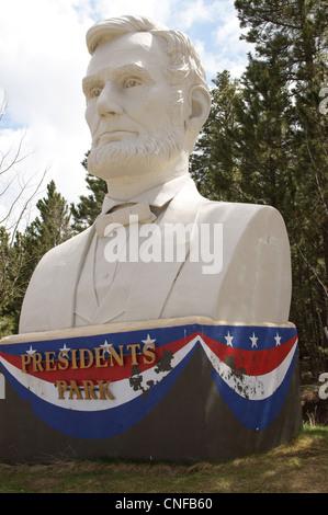 Präsidenten park führen South Dakota sd Skulptur Abraham Lincoln-Attribut-Design-Emblem-Ausdruck-Darstellung - Stockfoto