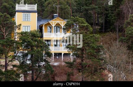 Haus des Archipels, in der Nähe von Stockholm, Schweden am Meer - Stockfoto