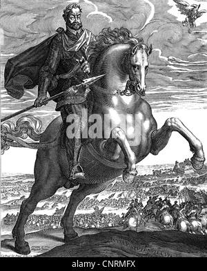 Ferdinand II., 9.9.1578 - 15.2 1637, Kaiser des Heiligen Römischen Reiches, volle Länge, auf dem Pferd, Kupferstich - Stockfoto