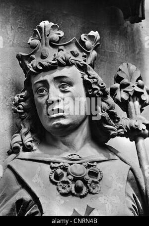 """Otto I """"die Großen"""", 23.11.912 - 7.5.973, Kaiser des Heiligen Römischen Reiches 2.2.962 - 7.5.973, Portrait, Skulptur, - Stockfoto"""