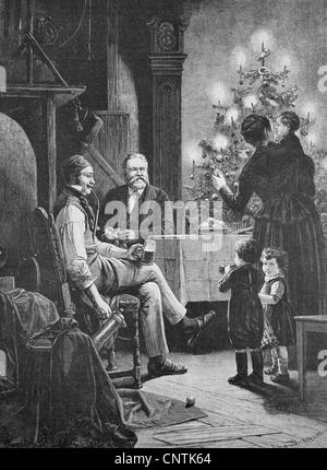 Fritz Reuter Weihnachten, Christian Friedrich Ludwig Heinrich Reuter, 1810-1874, eines der bedeutendsten deutschen - Stockfoto