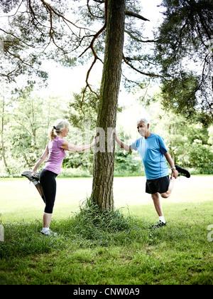 Älteres Ehepaar Dehnung gegen Baum - Stockfoto