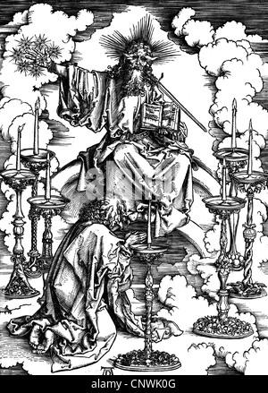 """Bildende Kunst, Dürer, Albrecht (1471-1528), """"Die Apokalypse - Vision der sieben goldenen Leuchter"""", Holzschnitt, - Stockfoto"""