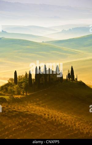 hügelige Landschaft in der Morgen, Italien, Toskana - Stockfoto