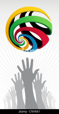 Die Hände Silhouetten, die versuchen, eine farbenfrohe Olympischen Kugel auf weißem Hintergrund zu erreichen. Vektor - Stockfoto