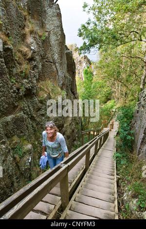 """Frau, die die hölzernen Treppen zu den Klippen """"Jons Kapel' in der Nähe von Hasle, Dänemark, Bornholm - Stockfoto"""