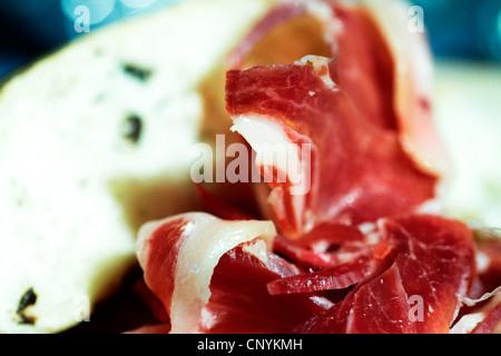 Iberische, Nahrung, Schwein, Serrano, Fleisch, Gastronomie, Feinkost, Dehesa, geheilt, Spanien, Jabugo, mediterran, - Stockfoto