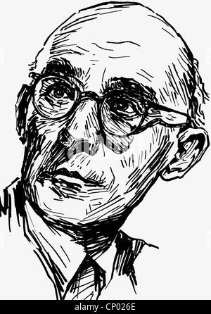 Engel, Erich, 14.2.1891 - 10.5.1966, deutscher Theater- und Filmregisseur, Porträt, Zeichnung von Werner Kulle, - Stockfoto