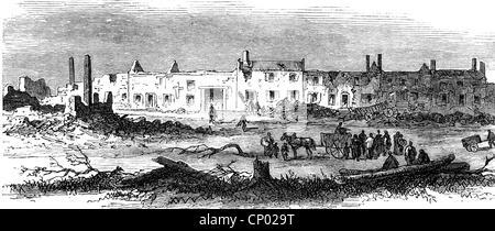 Veranstaltungen, preußisch-französischen Krieg 1870-1871, Belagerung von Metz, 20.8.-27.10.1870, zerstörte Dorf - Stockfoto