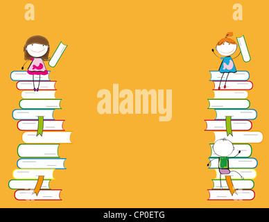 Glückliche bunte Kinder auf viele bunte Bücher - Stockfoto