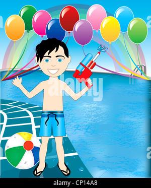 Vektor-Illustration der Watergun junge im Pool-Party mit Ballons und Wasserball. - Stockfoto