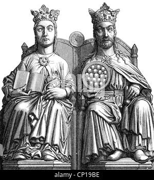Otto I. 'der Große', 23.11.912 - 7.5.973, Heiliger römischer Kaiser 2.2.962 - 7.5.973, mit erster Frau Edith, Skulptur, - Stockfoto