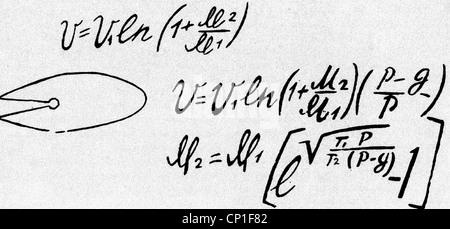 Tsiolkovskii, Konstantin Eduardowitsch, 17.9.1857 - 19.9.1935, russischer Physiker, Mathematiker, grundlegende Rakete - Stockfoto