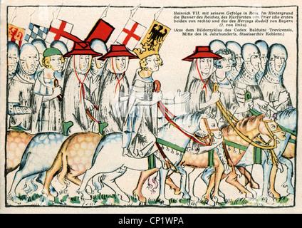 Heinrich VII., ca. 1275 - 24.8.1313, Heiliger römischer Kaiser 1312 - 1313, Szene, Heinrich VII. Mit seinem Gefolge - Stockfoto