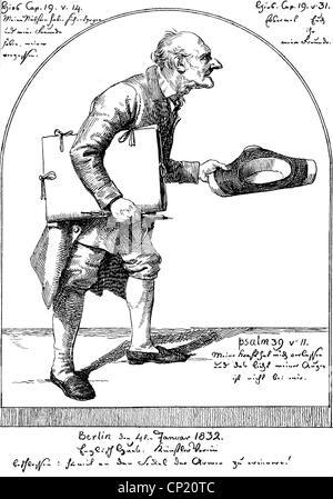 """Schadow, Johann Gottfried, 20.5.1764 - 27.1.1850, deutscher Bildhauer und Grafiker, Werke, """"Der alte Maler"""", lithograph, 1.822,"""